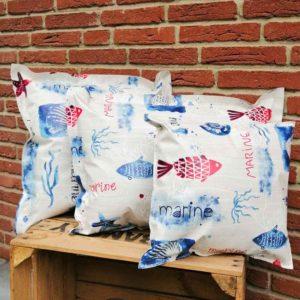 Outdoor Kissen Maritim blau weiß 3 Größen