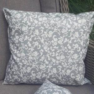 Outdoor Kissen Grau mit Blumenranken
