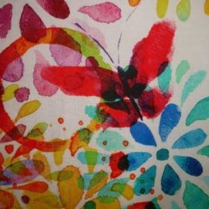 Kissenhülle Blumen bunt Stoff Schmetterling