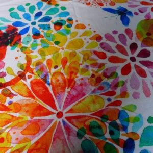 Kissenhülle Blumen bunt Stoff Closeup