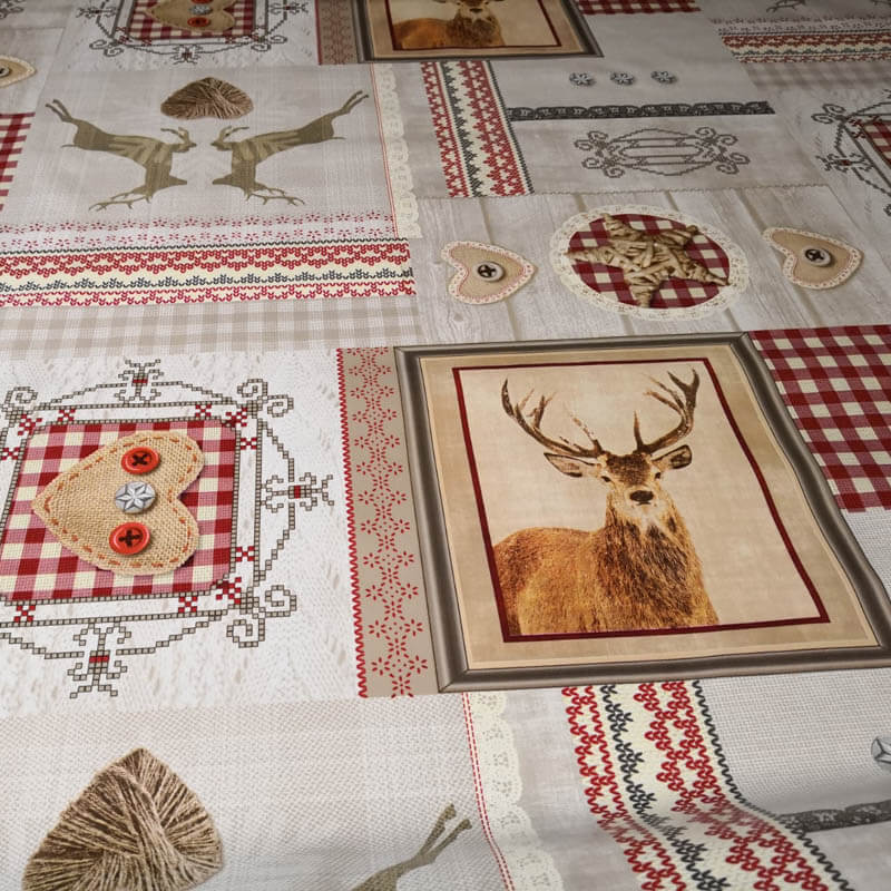 wachstuch stoff zum n hen weihnachten hirsche mit liebe dekoriert. Black Bedroom Furniture Sets. Home Design Ideas