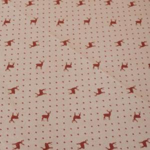 Tischdecke Hirsch mit Punkten rot auf beige Stoff