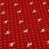 Stoff Hirsch beige mit Punkten - Hintergrund rot