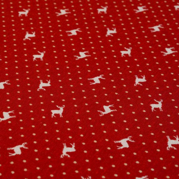 Tischdecke Hirsch mit Punkten beige auf rot
