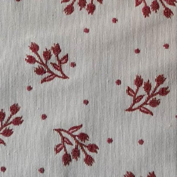 Stoff Meterware Zweige rot - creme Hintergrund