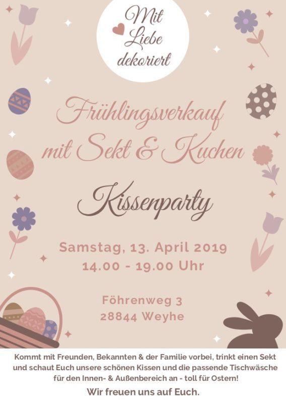 Frühlingsverkauf / Kissenparty Weyhe Flyer