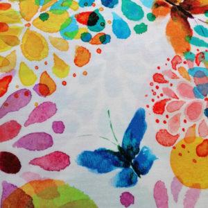 Meterware 2m breit - Blumen mit Schmetterling