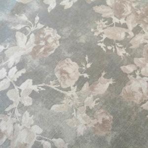 Tischdecke Leinen Optik mit Rosen in grau