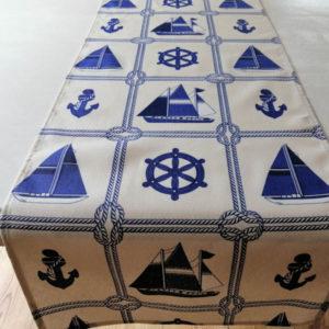 Tischläufer weiß - Maritim mit Schiffen & Ankern
