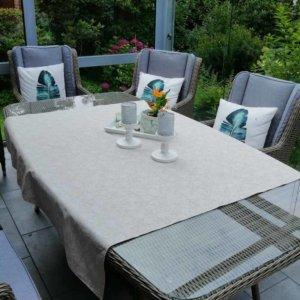 Abwaschbare Tischdecke weiße Rosen auf Beige