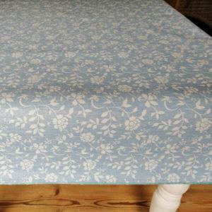Tischdecke abwaschbar eckig Blau mit Blumenranken