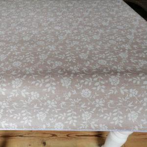 Tischdecke abwaschbar Braun mit weißen Blumenranken
