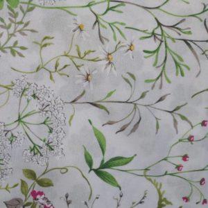 Stoff Gräser und Blumen - Meterware aus Baumwolle