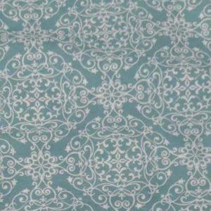 Meterware Blaue Ornamente auf weiß aus Baumwolle