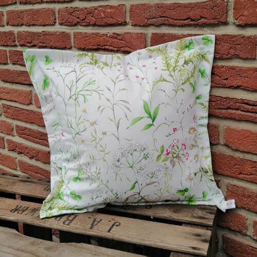 Kissen Gräser und Blumen aus Baumwolle 40x40cm