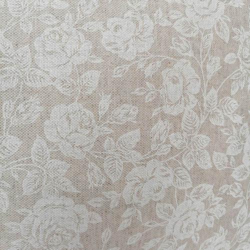 Motiv Beschichtete Baumwolle Beige mit weißen Rosen