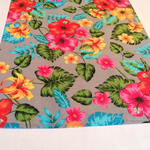 Tischläufer Hawaii Blumen aus Baumwollmischung Kante