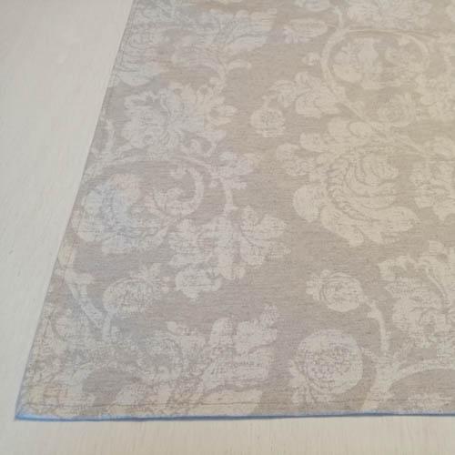 Tischläufer grau mit Blätterranken (beschichtet) Ecke