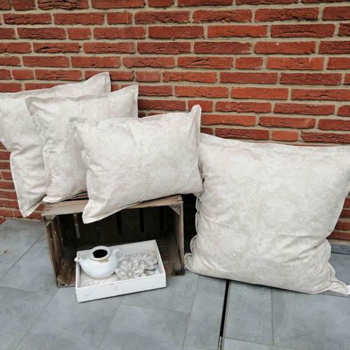 Wetterfeste Kissenbezüge Beige mit Blütenranken - garten lounge möbel kissen
