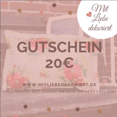 Geschenkideen zum Muttertag - Gutschein Mit Liebe dekoriert 20€