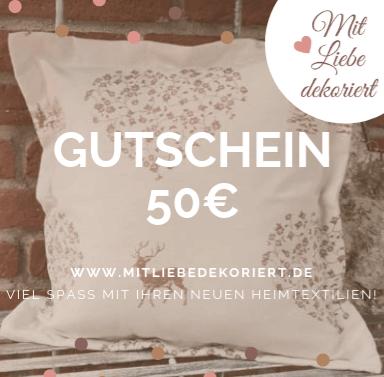Geschenkideen zum Muttertag - Gutschein Mit Liebe dekoriert 50€