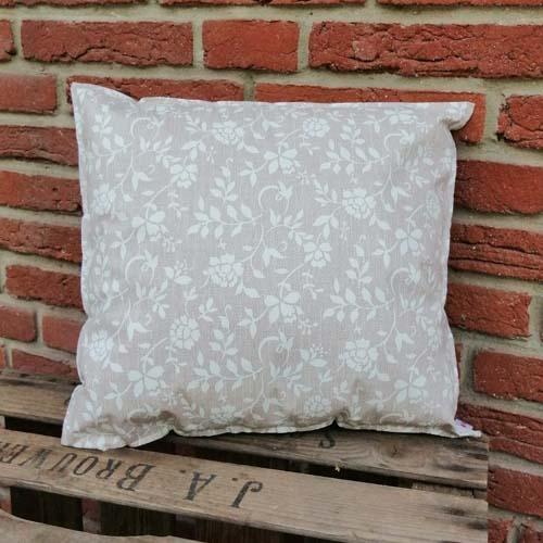 Outdoorkissen Braun mit weißen Blumenranken 35x38cm