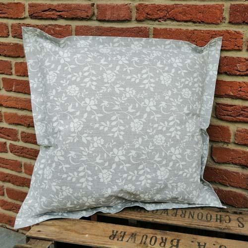 Outdoorkissen grau mit weißen Blumenranken 50x50cm
