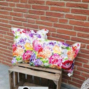 Wachstuchkissen / Outdoor Kissen Blumen