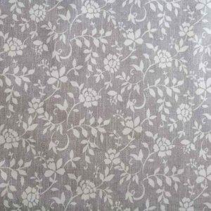 Meterware grau mit weißen Blumenranken