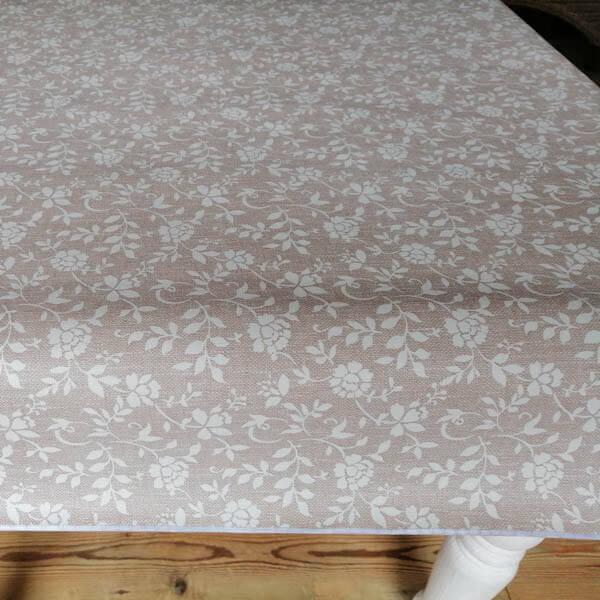 Braun mit weißen Blumenranken_Tischdecke
