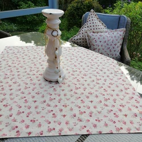 Mitteldecke rosa Rosen - Beschichtete Baumwolle-195114_Shop