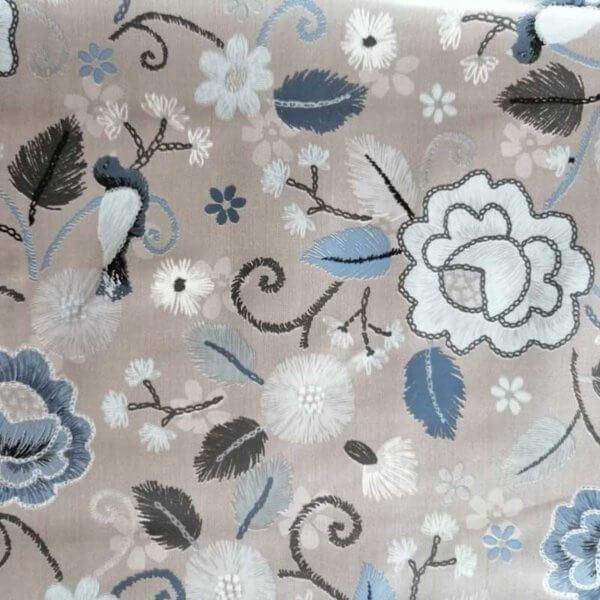 Wachstuch Tischdecke Schmetterlinge & Vögel - Blumen und Vogel blau