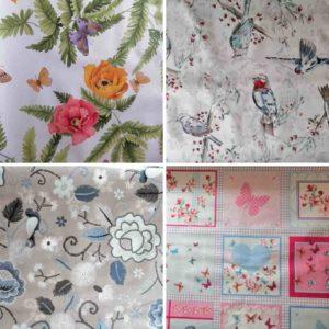 Wachstuch Tischdecke Schmetterlinge & Vögel
