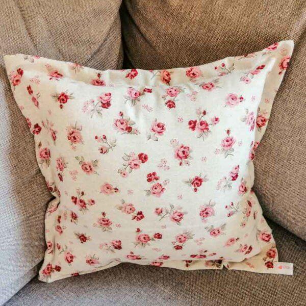 Kissenhülle Rosenmuster mit rosa Rosen 40x40cm