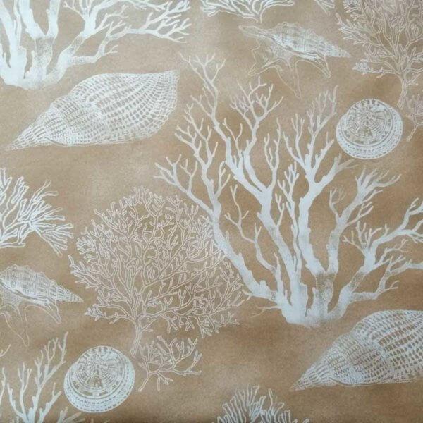 Wachstuch Tischdecke Maritim - Koralle braun