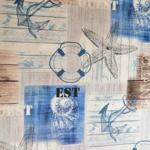 Wachstuch Tischdecke Maritim - Maritim blau weiß