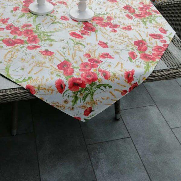 Tischdecke hell mit Mohn Motiv (beschichtet)
