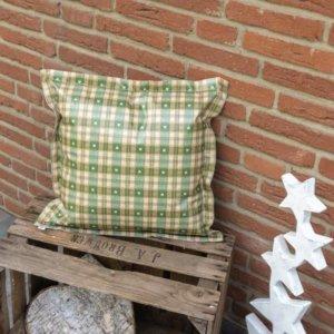 Garten Kissen Xmas grün kariert mit Herzen 50x50cm