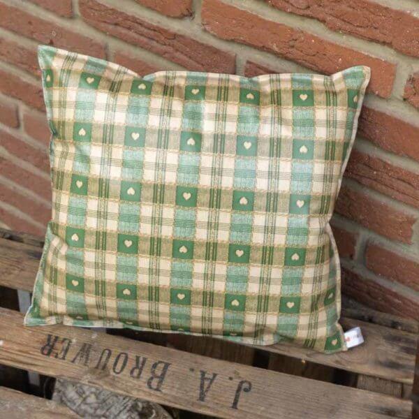 Garten Kissen Xmas grün kariert mit Herzen 35x38cm