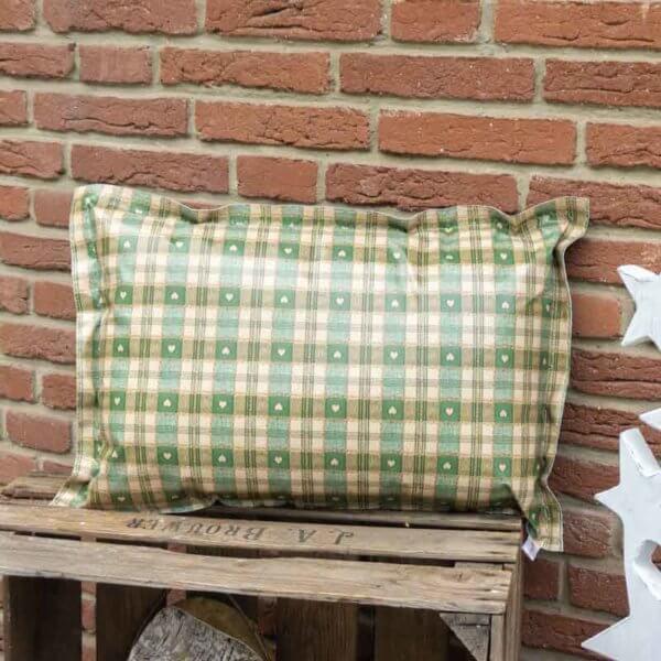 Garten Kissen Xmas grün kariert mit Herzen 40x60cm