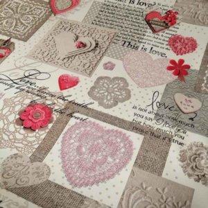 Wachstuch Tischdecke Shabby Chic - Rosa Herzen