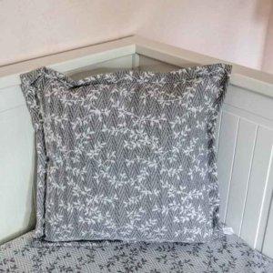 Kissenbezug Ranken aus Jacquard grau 40x40cm
