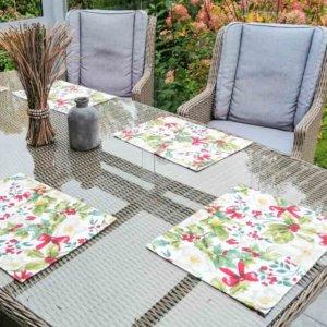 Christrose beschichtete Baumwolle Tischsets