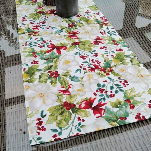 Christrose beschichtete Baumwolle Tischläufer