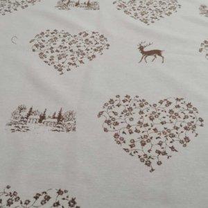 Hirsch mit Herzen beige und creme Tischdecken Meterware