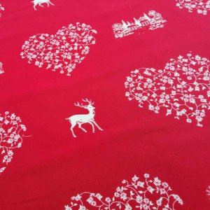 Stoff Hirsch mit Herzen creme - Hintergrund rot