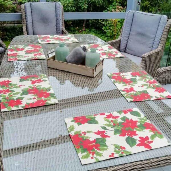 Weihnachtsstern beschichtete Baumwolle Tischsets