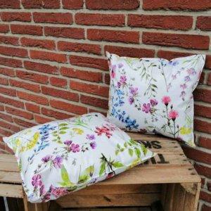 Wachstuchkissen / Outdoor Kissen Blumen 40x40cm