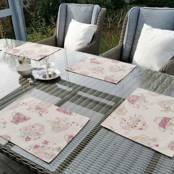 Platzset Tasse mit Blumen für draußen 6 Tischsets