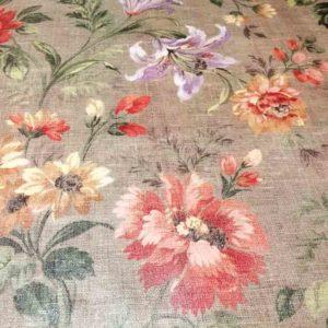 Braune Meterware mit Blumen aus Wachstuch